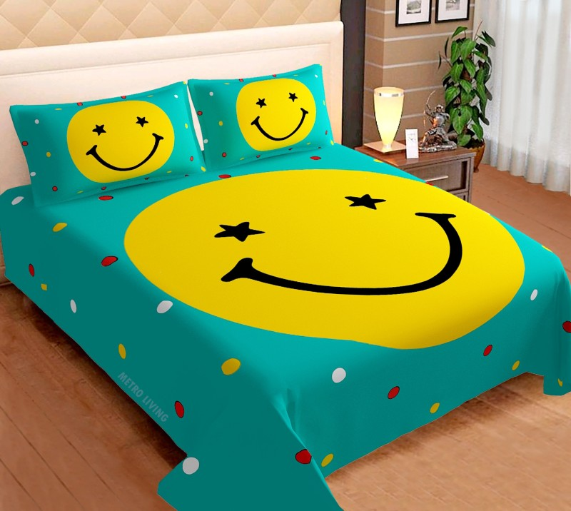 Metro Living 144 TC Cotton Double King Cartoon Bedsheet(Pack of 1, Turquoise)