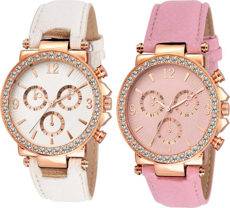 Varni Retail Geneva Pink And White Platinum Diamond Dial 2 Combo Analog Watch Analog Watch - For Girls