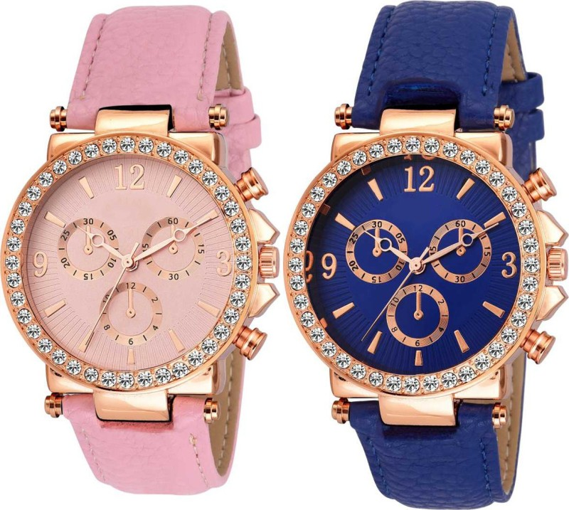 Varni Fashion Geneva Blue And Pink Platinum Diamond Dial 2 Combo Analog Watch Analog Watch - For Women