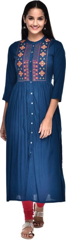 Gulmohar Jaipur Women Embroidered Frontslit Kurta(Blue)