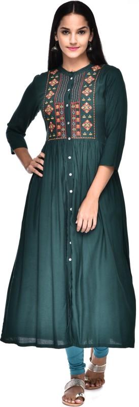 Gulmohar Jaipur Women Embroidered Frontslit Kurta(Dark Green)