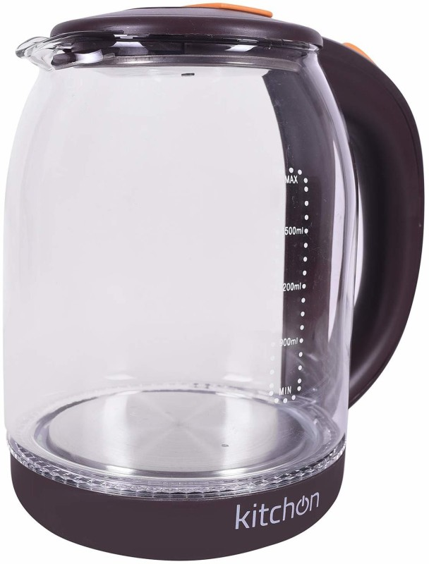 kitchon GLASS KETTLE 1.8L 1500W CORDLESS AUTOMATIC Electric Kettle(1.8 L, TRANSPARENT, CHERRY COLOUR)