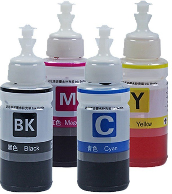 Pinnacle Compatible Refill Ink for Epson Printers L100 L120 L130 L210 L220 L230 L300 L310 L350 L355 L360, L361 L365 L385 L455 L485, L550, L565 L605 L655 L1300 L1455 T664 Multi Color Ink Bottle(Magenta, Cyan, Black, Yellow)