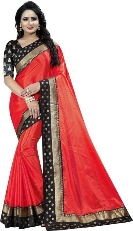 Muta Fashion Solid Rajshahi Jacquard Saree(Red)