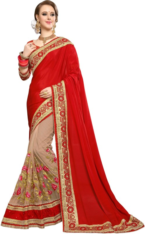 DOLVIA Embroidered, Applique Bollywood Georgette, Net Saree(Red)