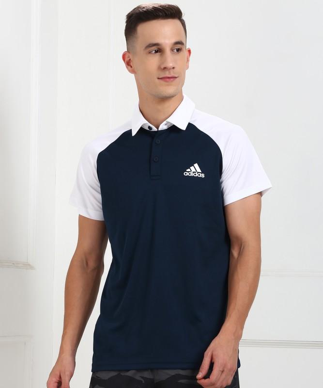 ADIDAS Color Block Men Polo Neck Blue, White T-Shirt