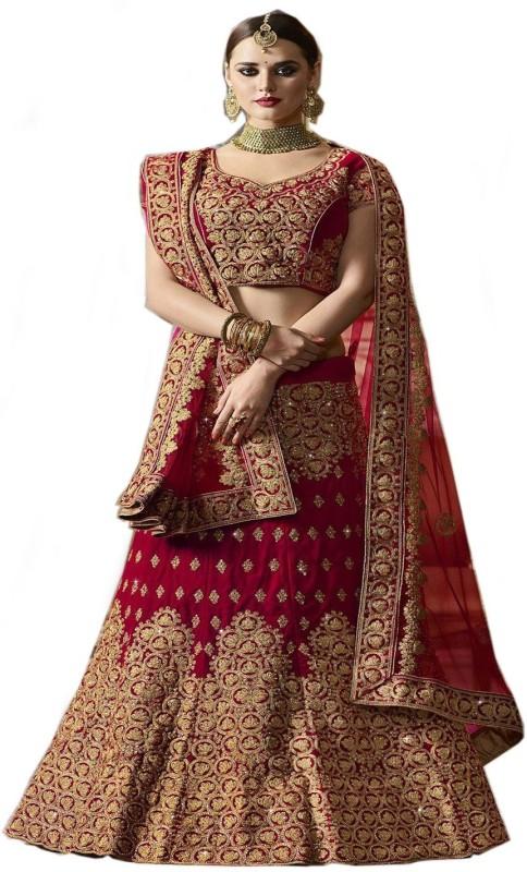 S.B Creation Embroidered Semi Stitched Lehenga, Choli and Dupatta Set(Red, Gold)