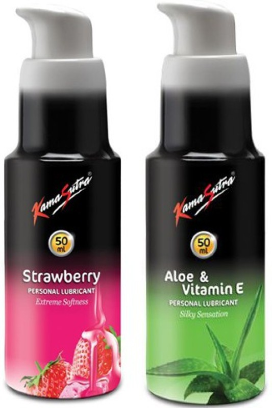 KamaSutra Personal Lubricant-Aloe Vera & Vitamin E + Strawberry 50ml each Lubricant(100 g)