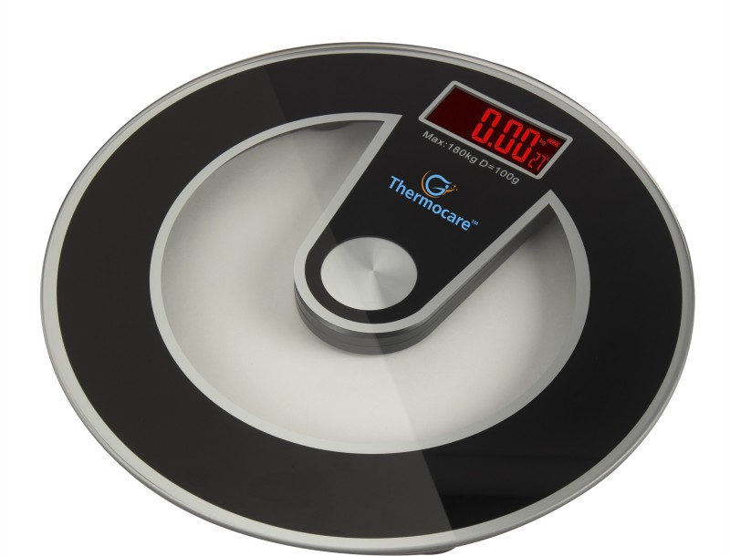 Thermocare Round Shape Thick Glass Weighing Machine Digital Glass Bathroom Human Body Measurement Weighing Scale(Black)