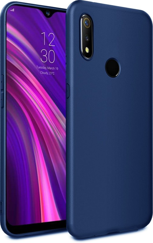 Febelo Back Cover for Realme 3 Pro(Matte Blue, Grip Case)