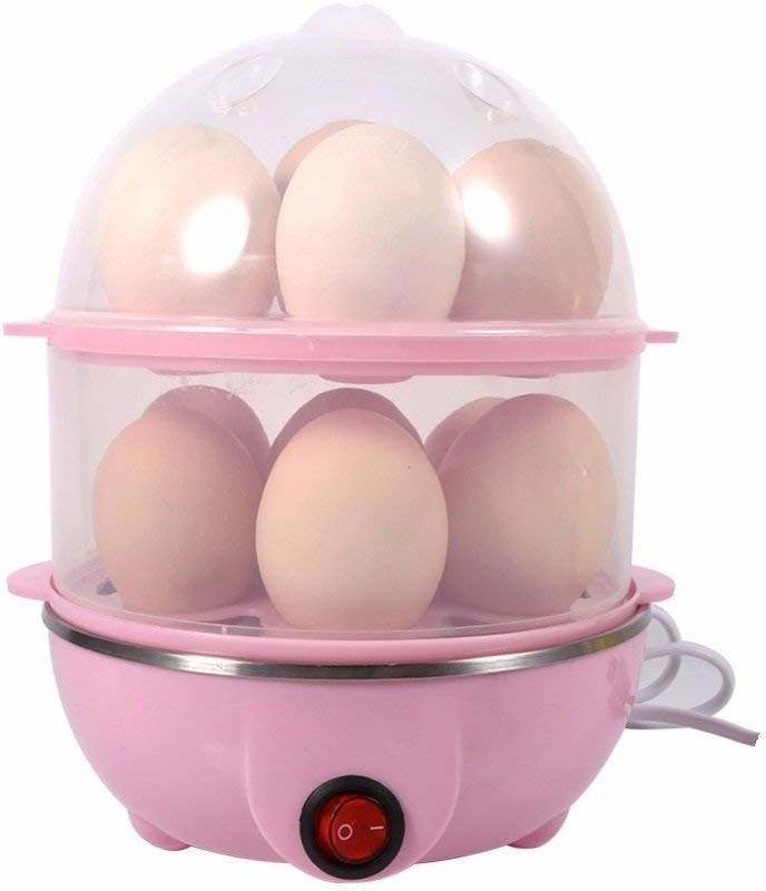 SNEPCOM Stainless Steel 2 Layer 14 Egg Boiler, Cooker, Steamer with Measuring Cup Stainless Steel 2 Layer 14 Egg Boiler, Cooker, Steamer Egg Cooker(Multicolor, 14 Eggs)