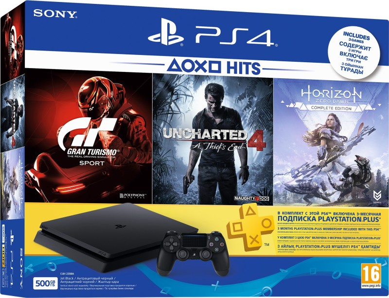 Sony PlayStation 4 (PS4) Slim 500 GB with Uncharted 4, Horizon Zero Dawn (Complete Edition) and Gran Turismo Sport(Jet Black)