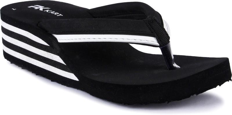 PKKART Womens Black and White Casual Stylish Comfort High Heel (Pack Of 1) Flip Flops