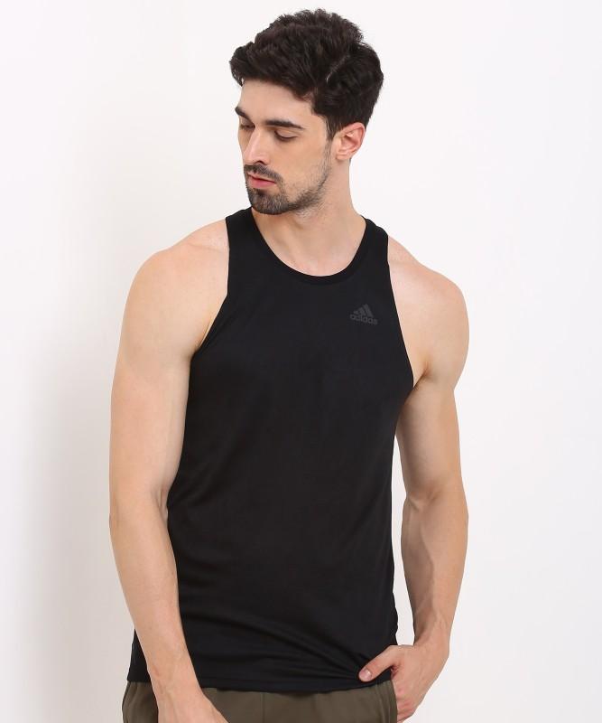 ADIDAS Solid Men Round Neck Black T-Shirt