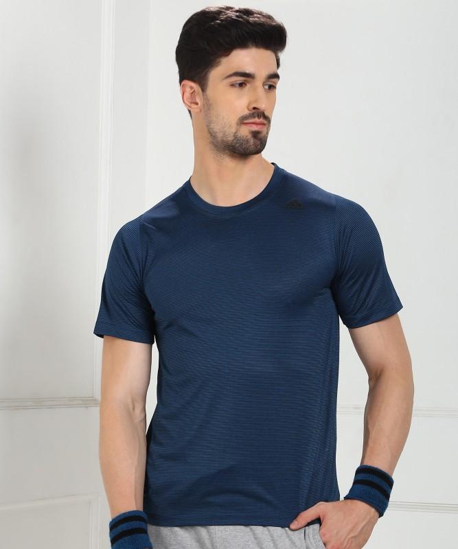 ADIDAS Striped Men Round Neck Blue T-Shirt