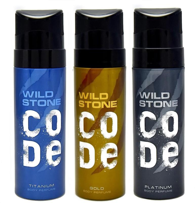 Wild Stone Code Platinum Gold Titanium combo Deodorant Spray - For Men(360 ml, Pack of 3)