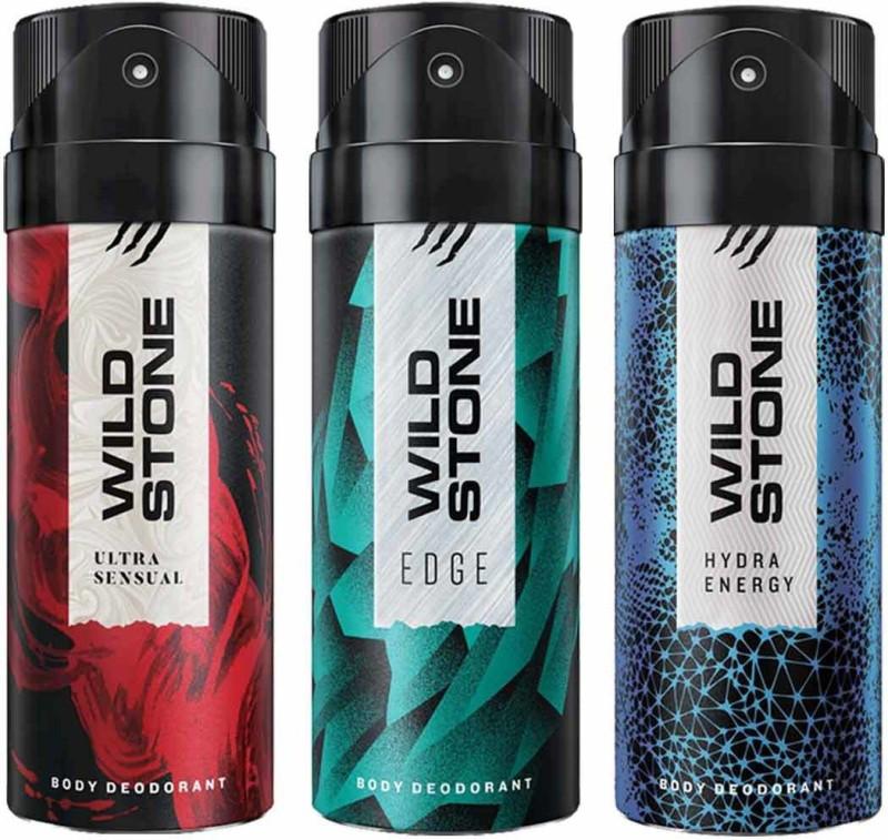 Wild Stone Edge,Hydra Energy and Ultra Sensual Deodorant Spray - For Men(450 ml, Pack of 3)