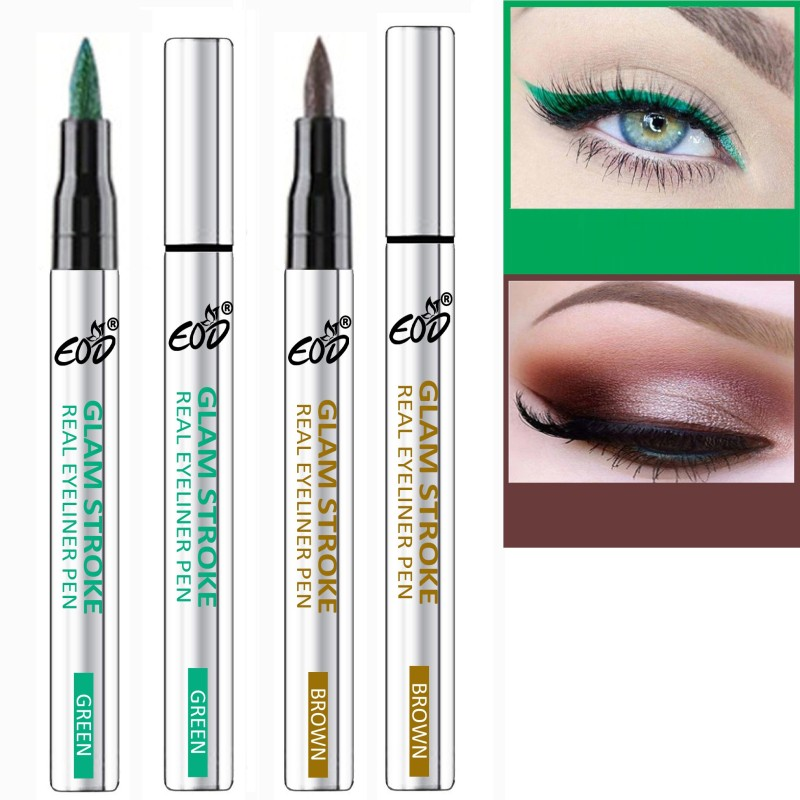 EOD Long Lasting Water Proof Liquid Sketch Eyeliner Pen Combo Set of 2 2 ml(Green, Brown,)