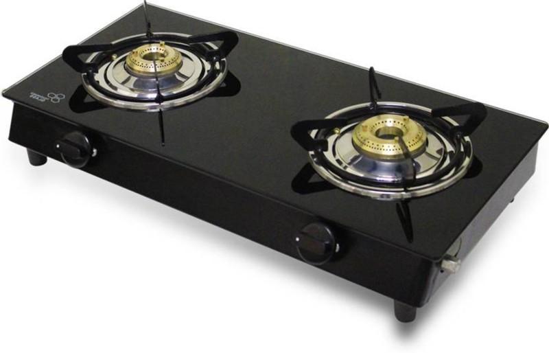 Akshat Nano Black Smart 2 Burner Glass Gas Stove Manual Glass, Stainless Steel Manual Gas Stove(2 Burners)