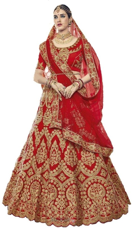 panchhi nx Embroidered Semi Stitched Lehenga, Choli and Dupatta Set(Red)