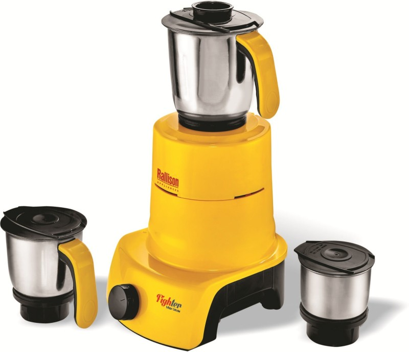Rallison Appliances Fighter RS_18 550 Mixer Grinder(Yellow, 3 Jars)