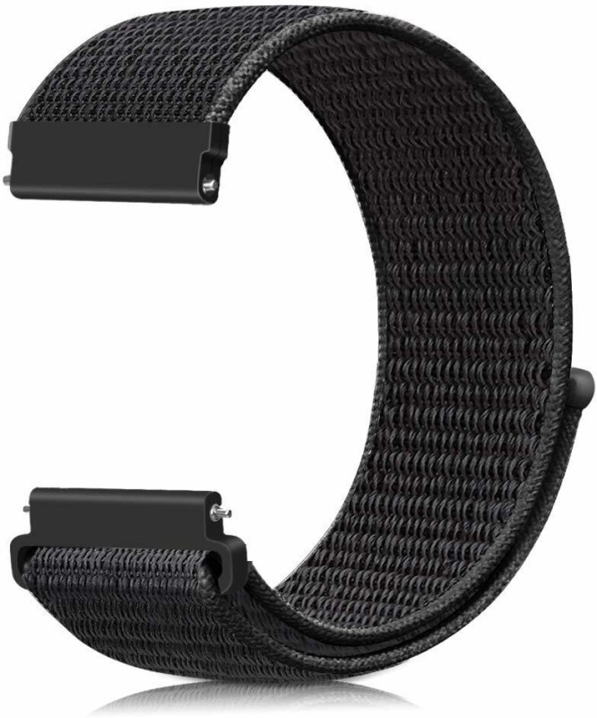 CellFAther Nylon Loop Band Wrist Watch Strap for Samsung Gear S2 20mm_Dark Black (Watch Not Included) Smart Watch Strap(Black)