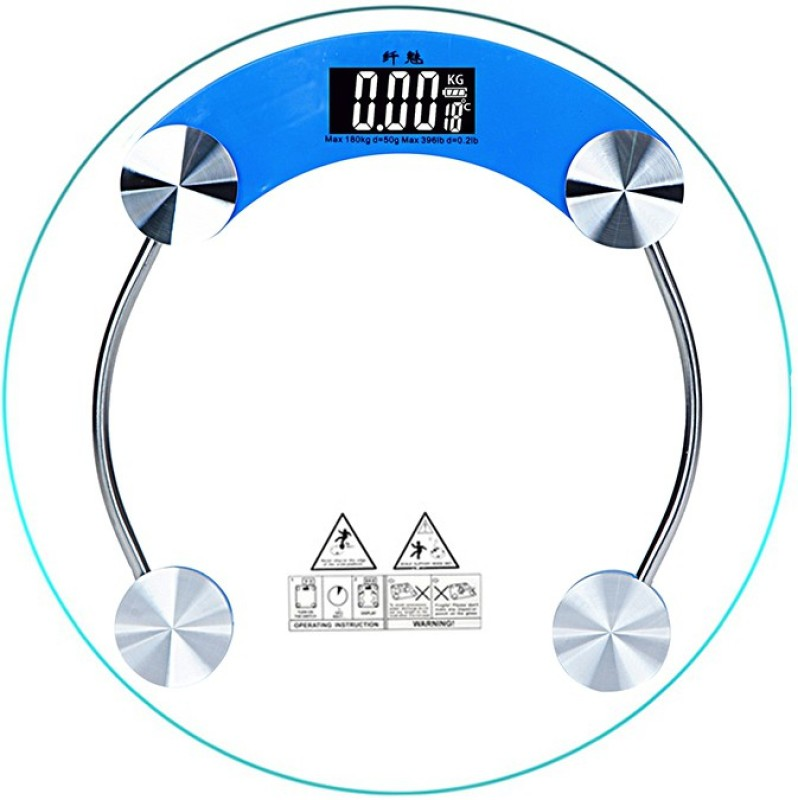GERBERA Digital Body Fat Scale, Mini Weighting Scale Transp with 4-Digits LCD Display Weighing Scale(Blue)