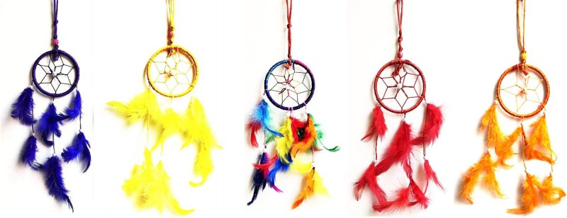 Kraft Village Car Hanging Round Multi-color Dream Catcher for Attract Positive Dreams Protect Sleeping People Children From Bad Dreams and Nightmares Wool, Terracotta Dream Catcher(10 inch, Yellow, Orange, Red, Blue)
