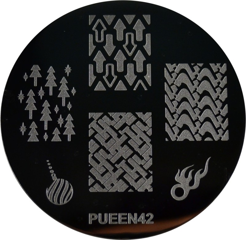 Pueen Stamping Nail Art Round Image Plate 24E Love Elements Collection 42(Silver)