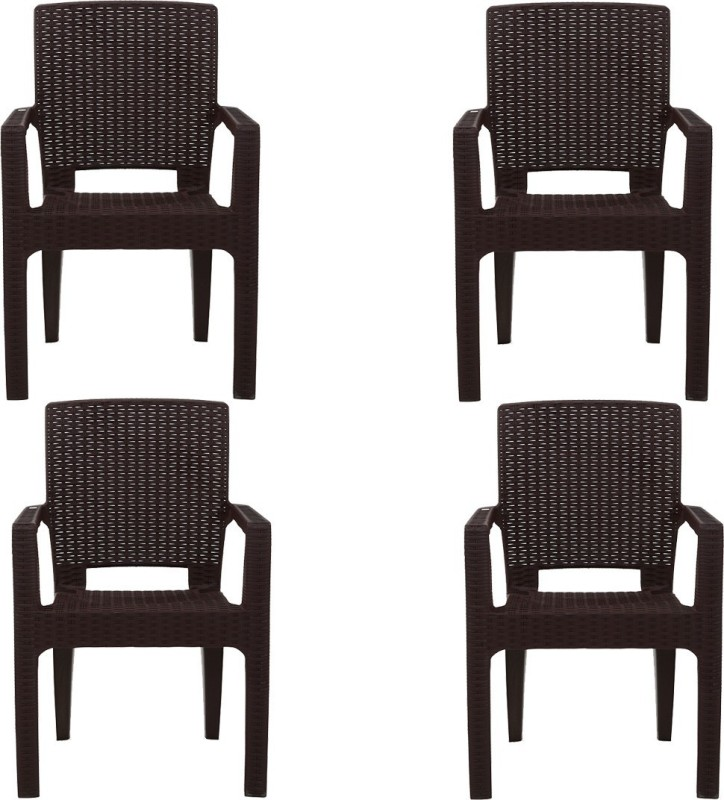AVRO furniture PLATINUM RATTAN CHAIR (Set Of 4) Plastic Outdoor Chair(Finish Color - Brown)
