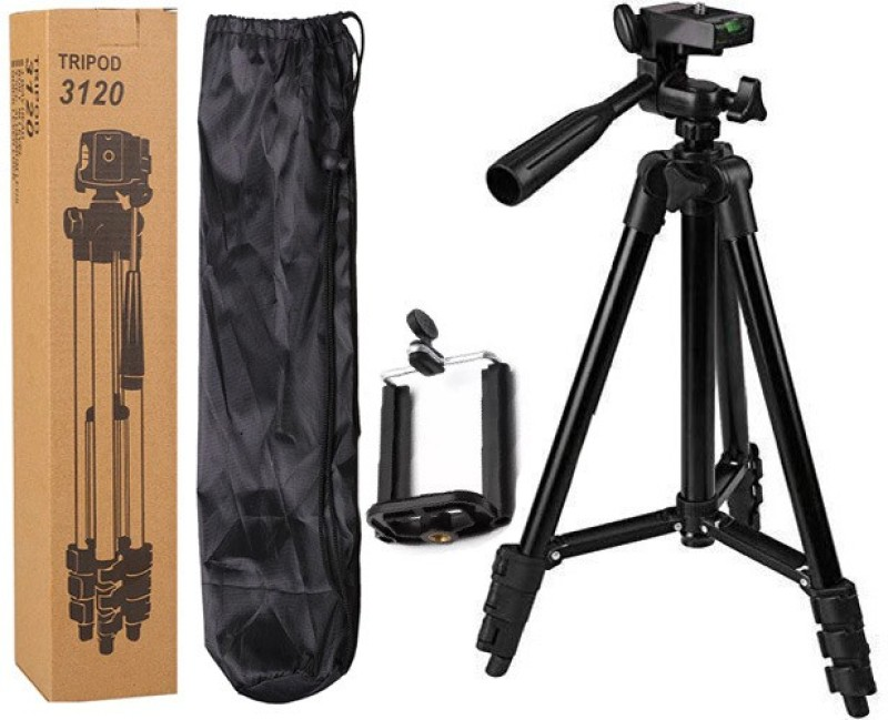 BUY SURETY Tripod-3120 Adjustable Aluminum Premium Quality Lightweight Camera Stand With Three-Dimensional Head & Quick Release Plate For Video Cameras, Dslr, Tripod With Mobile Clip Holder Mobile Holder For All Smartphone Tripod(Black, Supports Up To 1500 G)