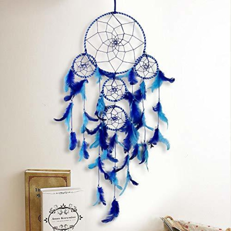Meher Collection Large Dream Catcher Traditional Indian wall Art for Bedrooms, Home Wall, Hanging Design, Height 75 cm Wool Dream Catcher(29.52 inch, Blue)