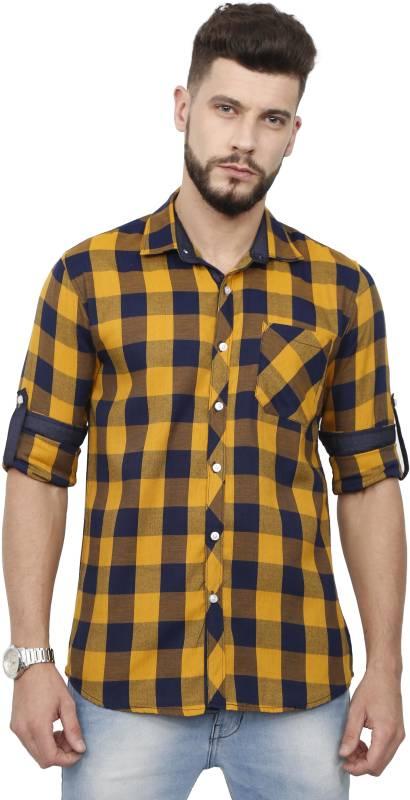 Rope Men Checkered Casual Yellow, Blue Shirt