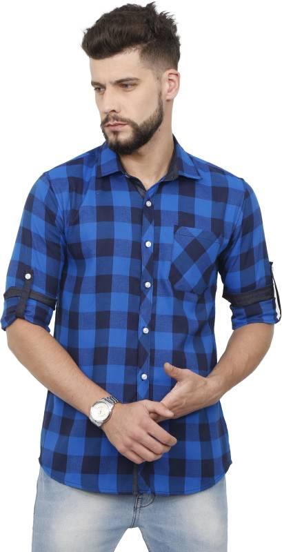 Rope Men Checkered Casual Blue Shirt