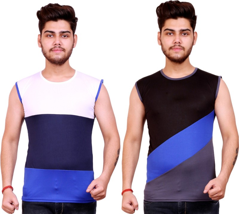 Celebrino Color Block, Striped Men Round Neck White, Dark Blue, Blue, Black, Grey T-Shirt(Pack of 2)