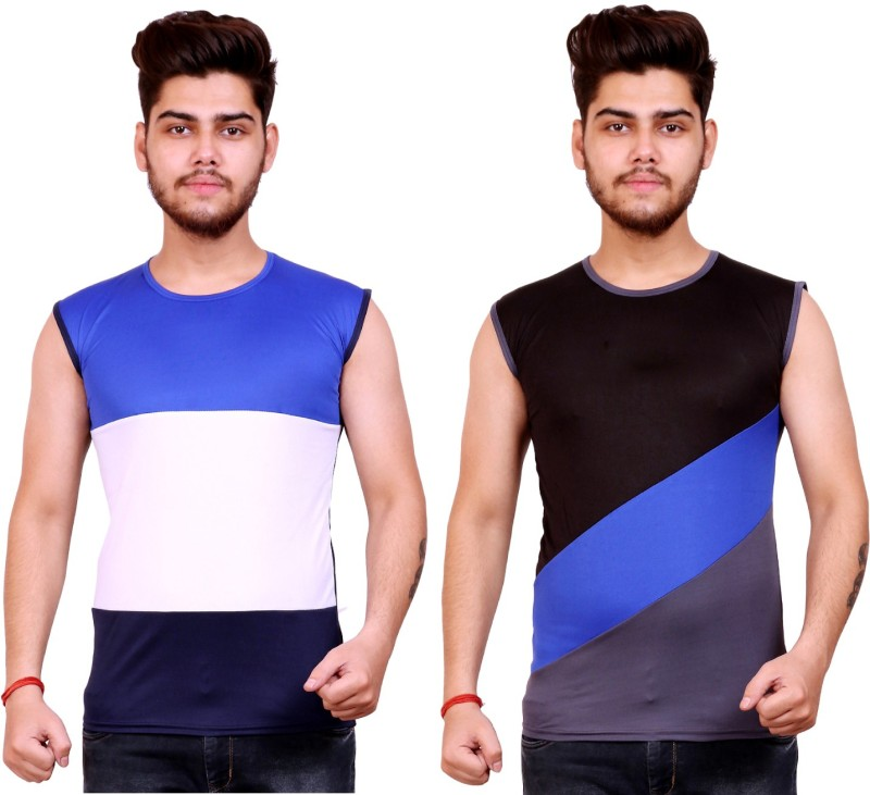 Celebrino Striped Men Round Neck White, Dark Blue, Blue, Black, Grey T-Shirt(Pack of 2)