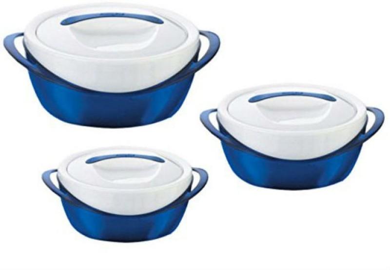 Zahuu Thermal Plastic Casserole Set Pack of 3 Thermoware Casserole Set(2500 ml, 600 ml, 1200 ml)