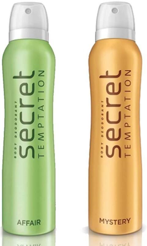 Secret Temptation Mystery and Affair Deodorant Spray Pack of 2 Combo (150ML each) Deodorant Spray - For Women(300 ml, Pack of 2)