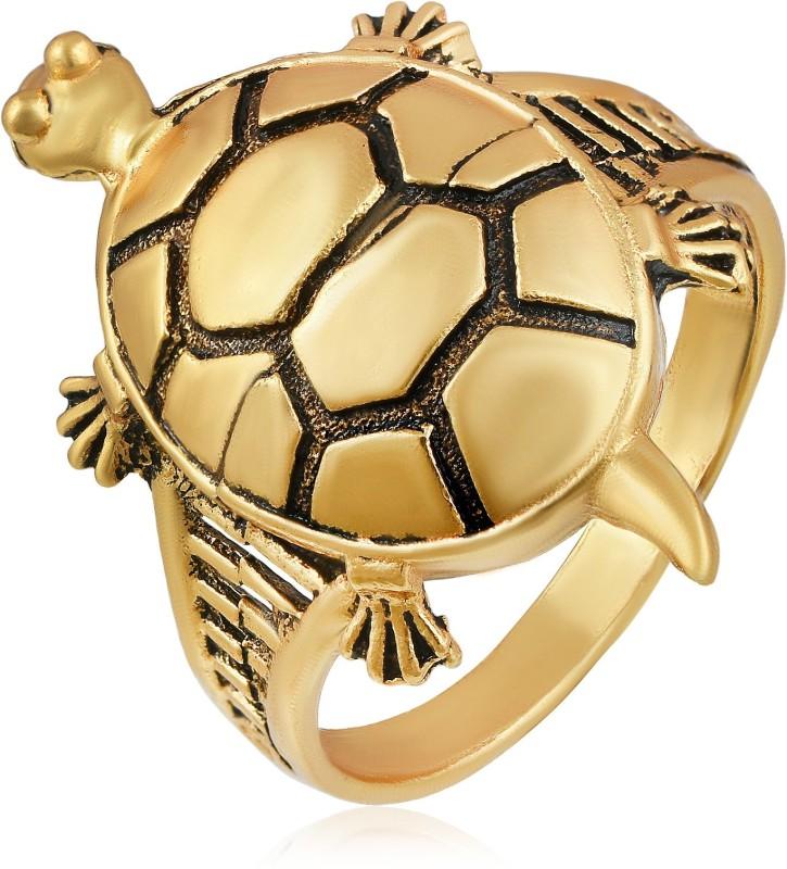 MissMister Gold Plated, Big Tortoise Shape, Vaastu Fenghui Recommended, Hand Crafted Free Size Adjustable Finger Ring Women Brass Cubic Zirconia Ring