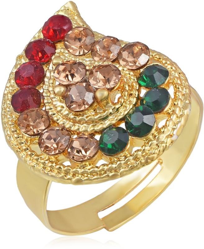 MissMister MissMister Gold Plated, Kairi Design Colourful CZ Free Size Adjustable Finger Ring Traditional Women Brass Ring