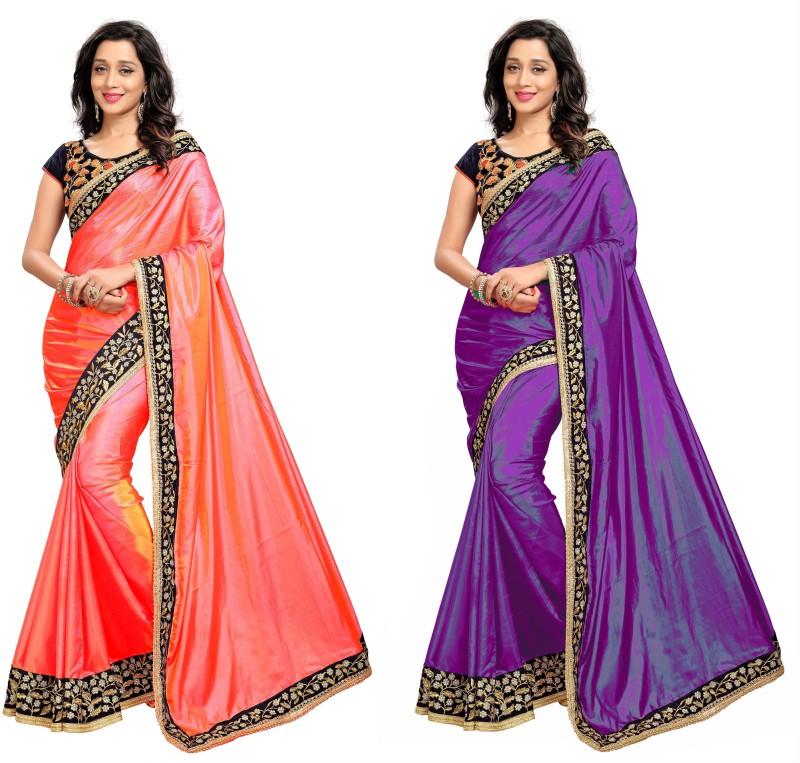 Anjaneya Sarees Solid Rajshahi Poly Satin, Poly Silk Saree(Pack of 2, Purple, Pink)