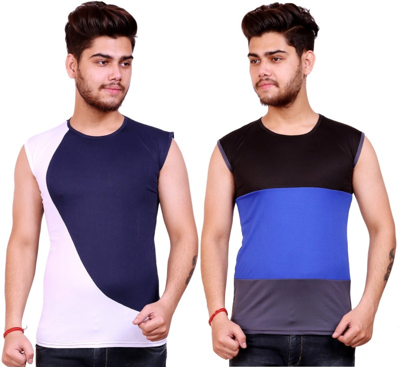 Celebrino Color Block, Striped Men Round Neck Dark Blue, White, Black, Blue, Grey T-Shirt(Pack of 2)