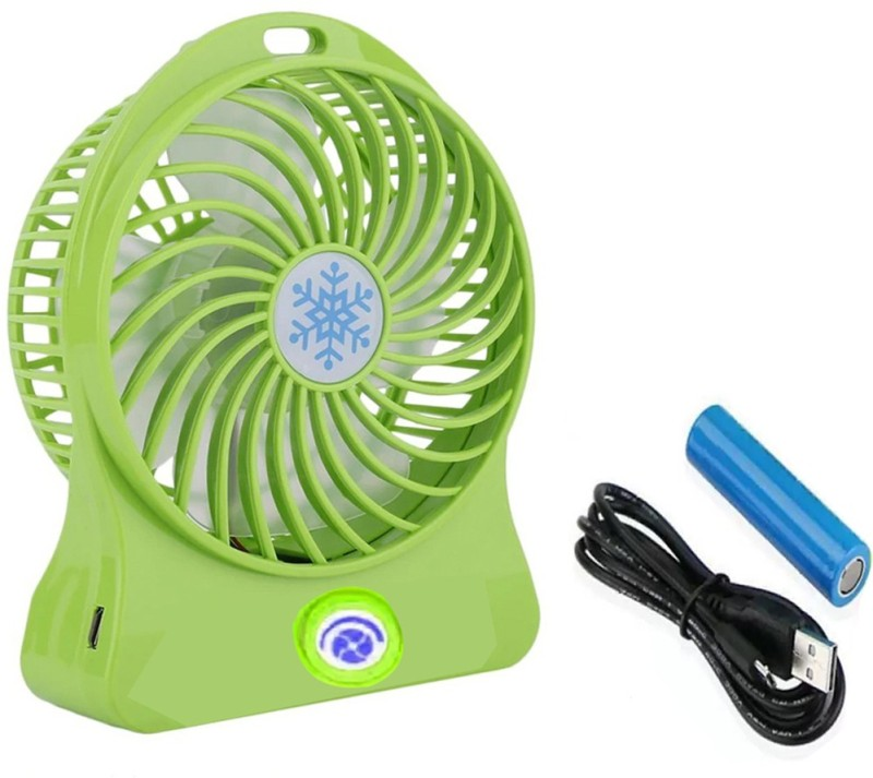 LIFEMUSIC High Quality Powerful Portable Fan 360 degree Rotate New Design Personal Air Cooler Mini Desk USB Battery Rechargeable Fan for PC Laptop regulator button to either slower or faster USB Air Freshener(Green)