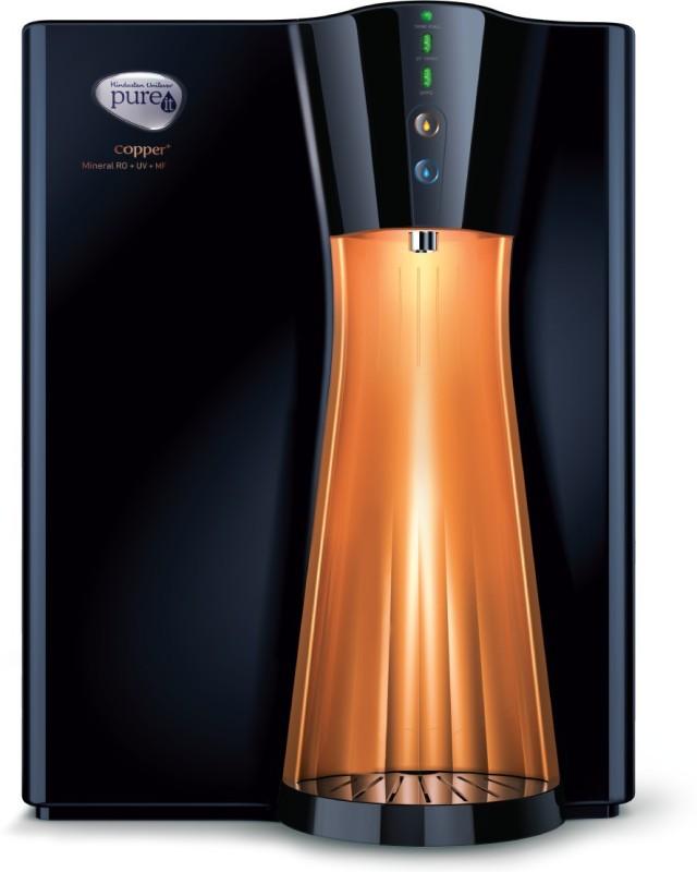 Pureit by HUL Copper+Mineral RO+UV+MF 8 L RO + UV Water Purifier(black & copper)