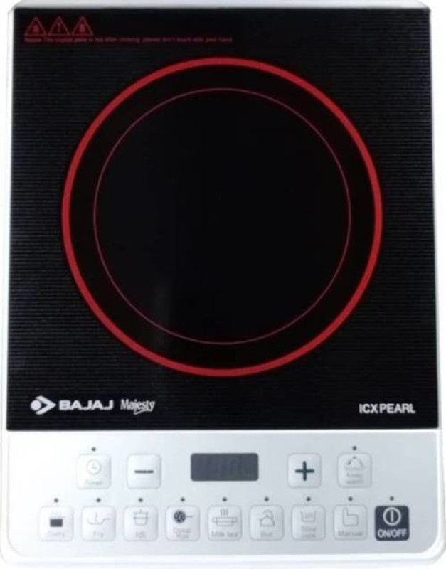 Bajaj PEARL Induction Cooktop(White, Black, Push Button)