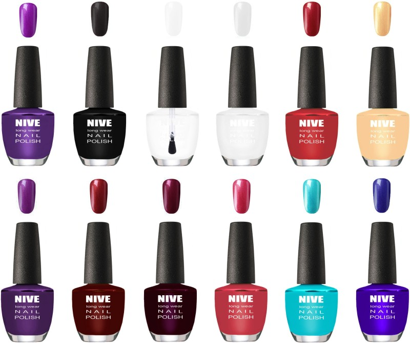 NIVE Best Ever Shine Nail Polish Purple,Black,Top Coat,White,Red,Apricoat,Purple,Maroon,Indigo,Light Pink,Sky Blue,Blue