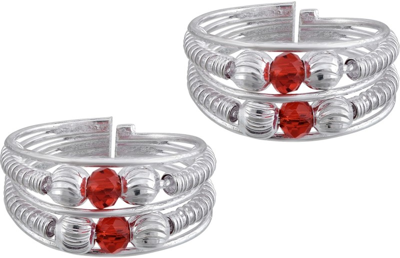 Memoir Silver Plated Red CZ Adjustable Free Size Bichiya toering Women Brass Cubic Zirconia Silver Plated Toe Ring