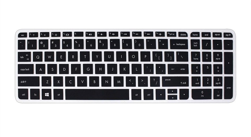 Saco Chiclet Keyboard Skin for HP 15-AY543TU 15.6-inch (Core i3-6006U/4GB/1TB/Windows 10/Integrated Graphics) with Pre-Loaded MS Office 2016 Home & Student edition Keyboard Skin(Black with Clear)