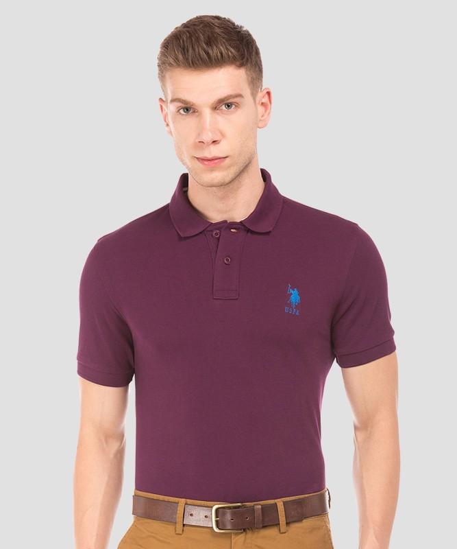 U.S. POLO ASSN. Solid Men Polo Neck Purple T-Shirt