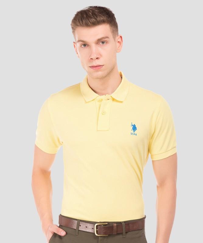U.S. POLO ASSN. Solid Men Polo Neck Yellow T-Shirt